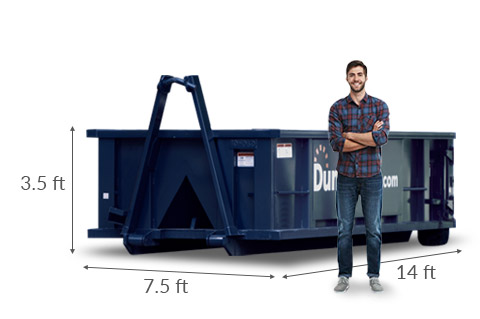 Man Standing Next to 10 yd Dumpster with Dimensions 14 feet x 7.5 feet x 3.5 feet