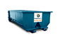 Blue 10 Yard Dumpster With Dumpsters.com Logo