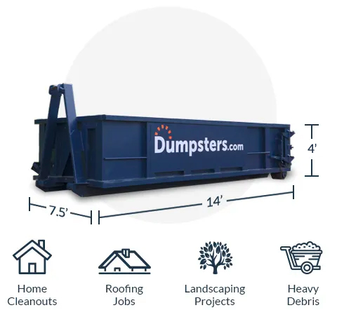 Small 12 Yard Roll Off Dumpster Surrounded by Ideal Use Projects