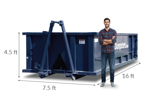 15 Yard Roll Off Dumpster with Listed Dimensions of 16 feet long, 7.5 feet wide and 4.5 feet high.