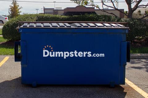 A Blue Dumpsters.com 2 Cubic Yd Front Load Dumpster.