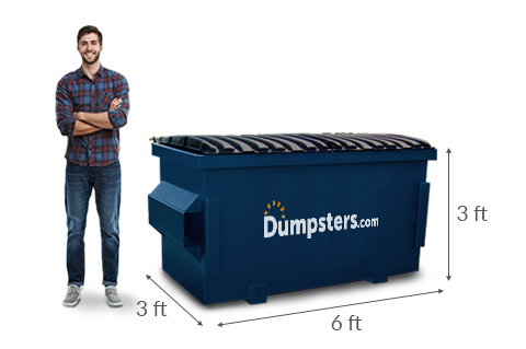 A Man Standing Next to a 2 yd Dumpster with Dimensions of 6 feet x 3 feet x 3 feet.