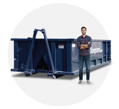 Man Standing Near Blue 20 Yard Dumpster
