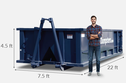 20 yard Dumpster Dimensions 22 feet x 7.5 feet x 4.5 feet.