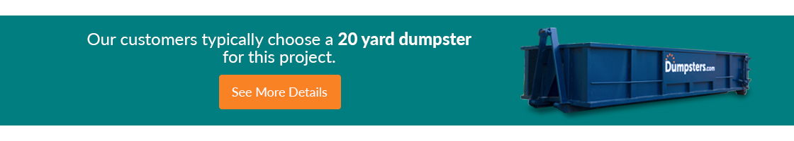 Dumpsters.com 20 yard roll off container information banner