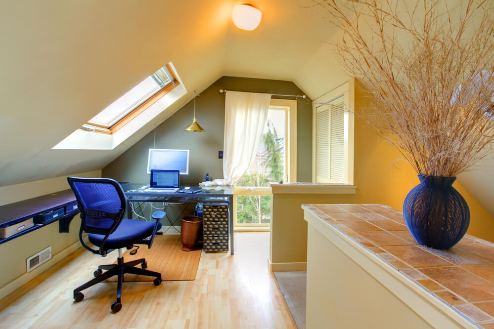 Image of an Attic Converted Into Home Office