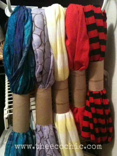 Reusing toilet rolls for scarf storage.