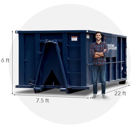 30 yard dumpster with a man standing beside