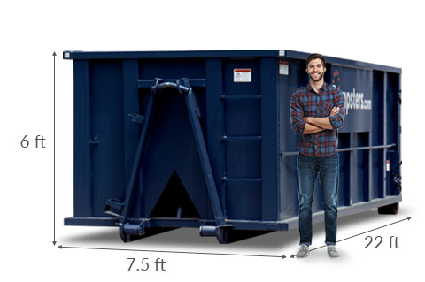 30 Yard Roll Off Dumpster with Listed Dimensions of 22 feet long, 7.5 feet wide and 6 feet high.