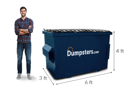 Man Standing Next to Dumpsters.com Dumpster With Dimensions 6 Feet Long, 3 Feet Wide and 4 Feet Tall