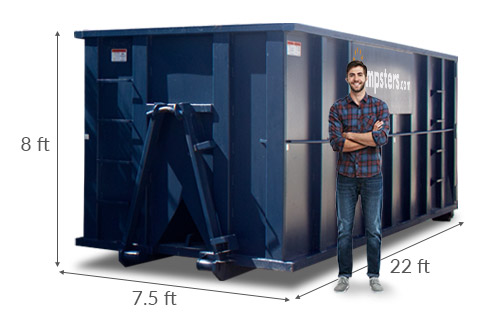 Man Standing Next to 40 yd Dumpster with Dimensions 22 feet x 7.5 feet x 8 feet.