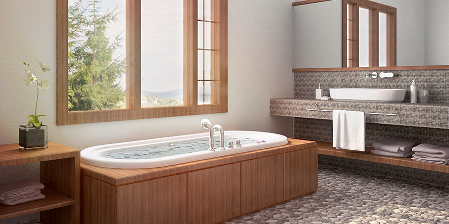 Naturally Lit Spa Bathroom with Large Window and Beautiful Mountain View