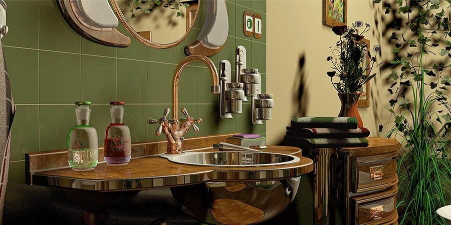 Home Staged Bathroom with Mixed Metal Fixtures
