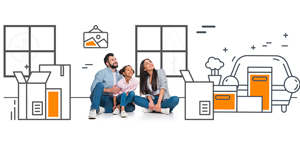 a graphic of a family sitting amongst moving boxes