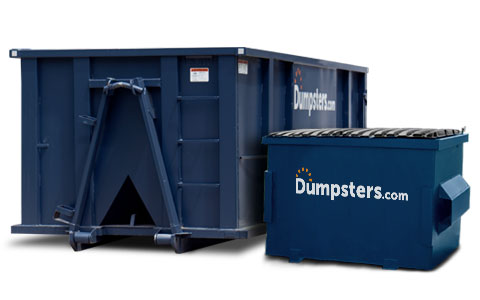 Roll Off Dumpster Next to Front Load Bin.