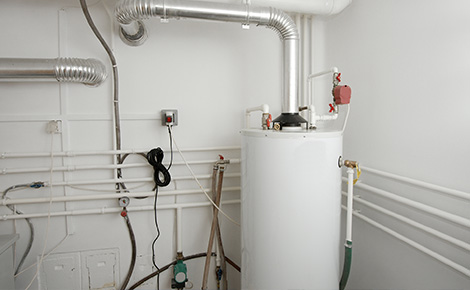 hot water tank in a utility room