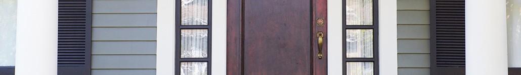 Brown-Painted Front Door.