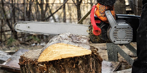 A Chainsaw Cutting a Piece of Tree Stump