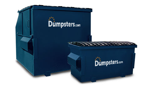 Two Different Sized Front Load Bins with Dumpsters.com Logos