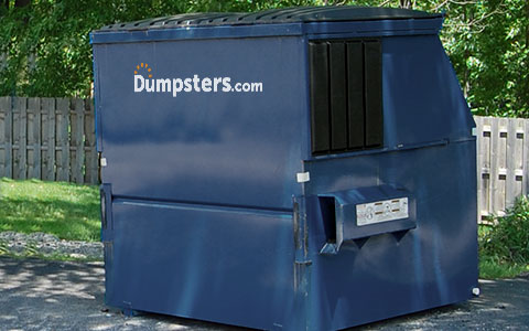 Dumpster with a Dumpsters.com Logo