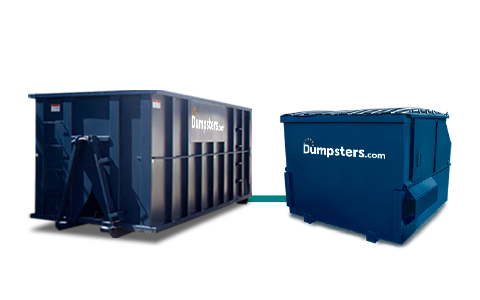 Dumpsters.com Blue Roll Off and Front Load Dumpsters.