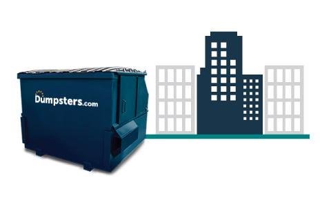 A Blue Front Load Bin and a Graphic of a City Skyline.