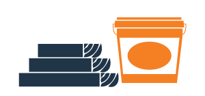 graphic of lumber and a bucket