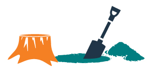 graphic of a tree stump and a shovel with dirt