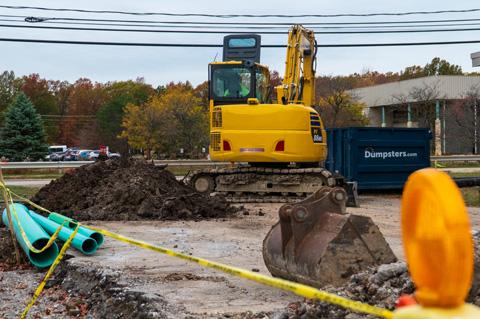 excavator on a job site