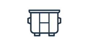 outline of a dumpster icon