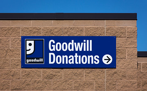 goodwill donations sign on a building