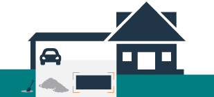 graphic of a house with an open garage and dumpster in driveway
