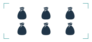 graphic of six trash bags in a rectangle
