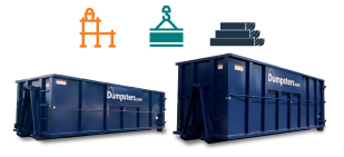 graphic of roll off dumpsters with construction materials