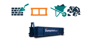 graphic of roll off dumpster with heavy debris like concrete and rocks