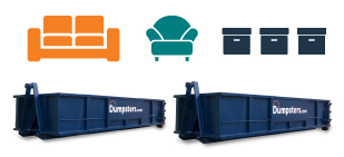 graphic of two roll off dumpsters and common home debris