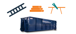 graphic of a roll off dumpster and remodeling tools