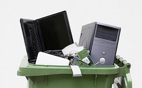 Electronic Waste in a Bin.