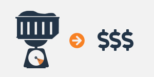 graphic of a dumpster on a scale with an arrow pointing to dollar signs