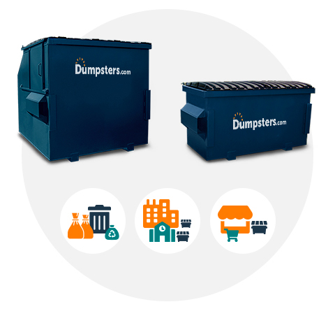 front load dumpsters with icons showing different business types