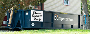 Home Dumpster With Dumpsters.com Logo and No Dumping Sign