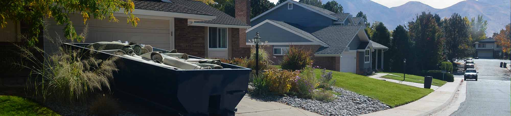 Roll Off Dumpster in Residential Driveway With Mountains in the Background.