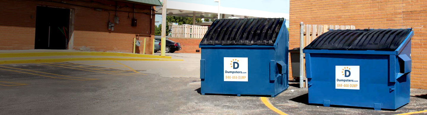 Pair of Blue Front Load Bins with Dumpsters.com Logos