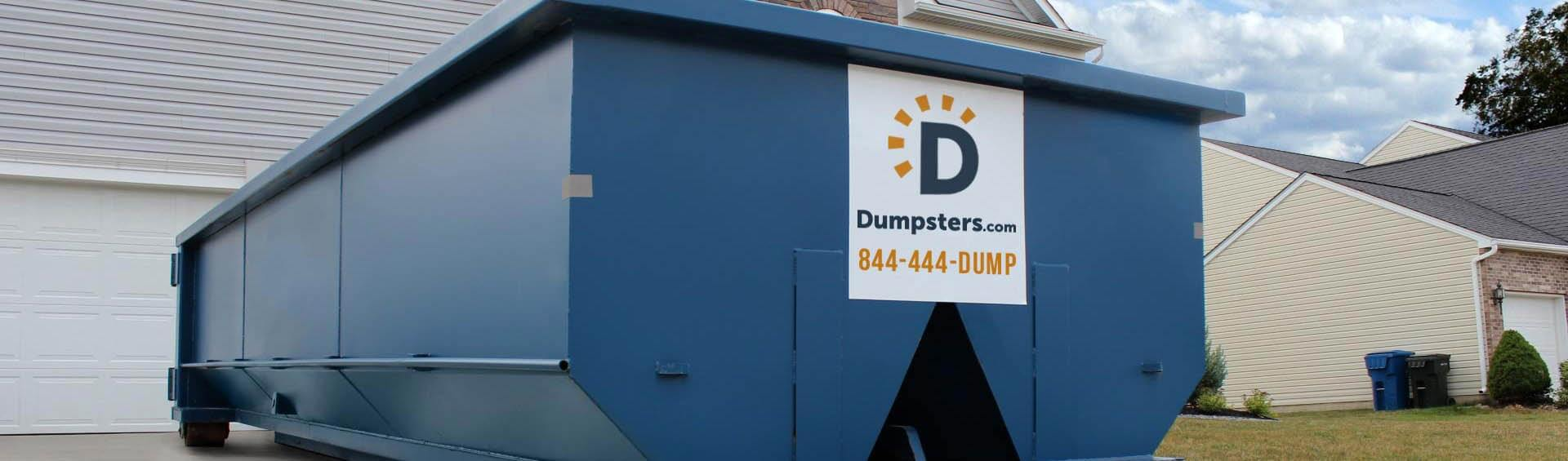 roll off dumpster in residential driveway