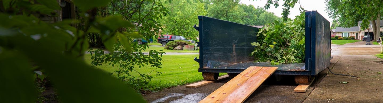 Roll Off Dumpster Filled with Landscaping Debris