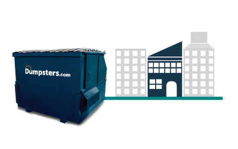 graphic of a blue front load dumpster near commercial buildings