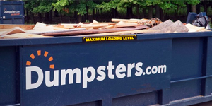 a dumpsters.com container filled with wood