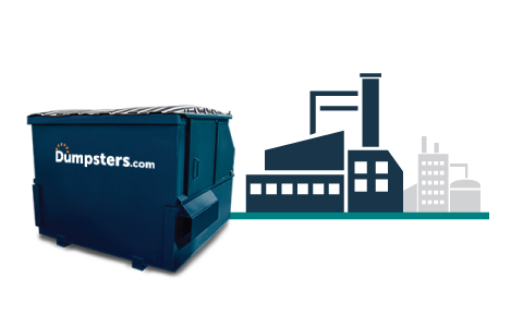 A Blue Front Load Dumpster and a Graphic of an Industrial Building.