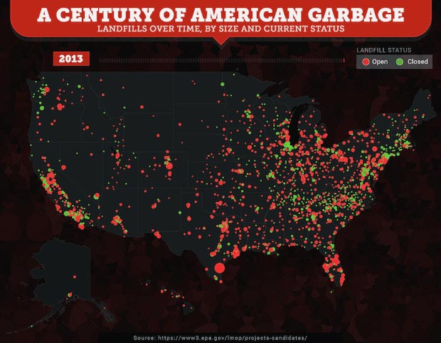 A Map of U.S. Trash Production Throughout the Years.
