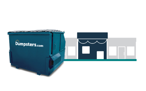 A Blue Front Load Dumpster and a Graphic of Retail Buildings.